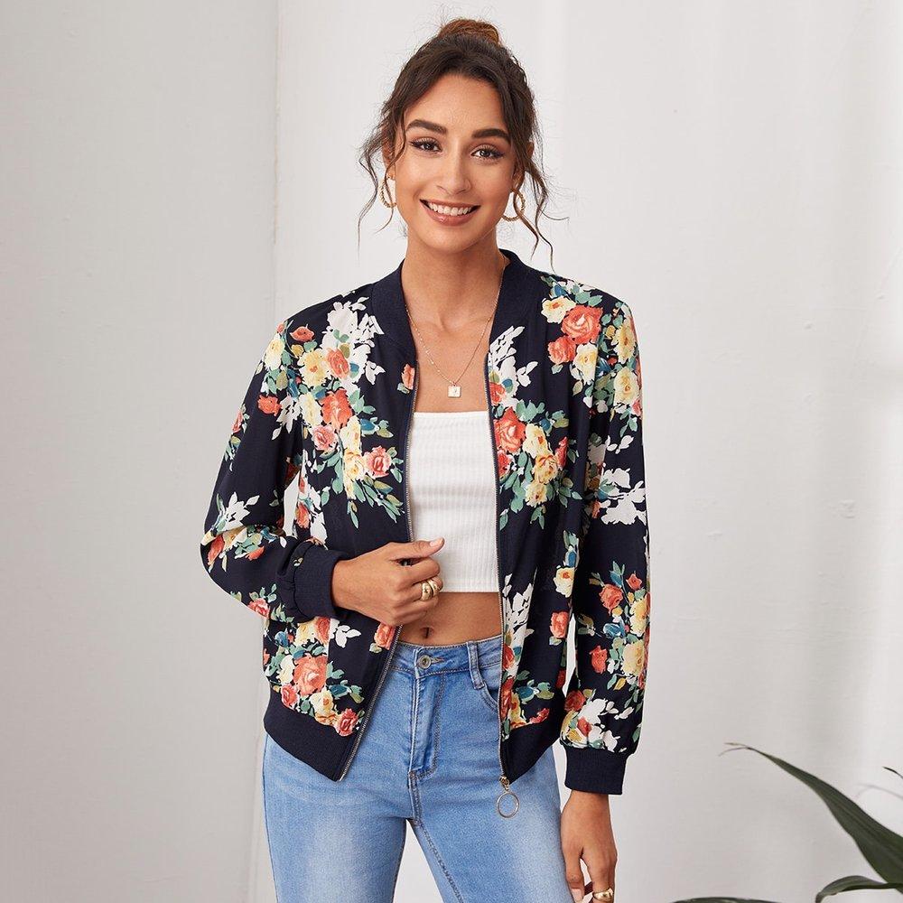 Veste zippée à imprimé floral - SHEIN - Modalova