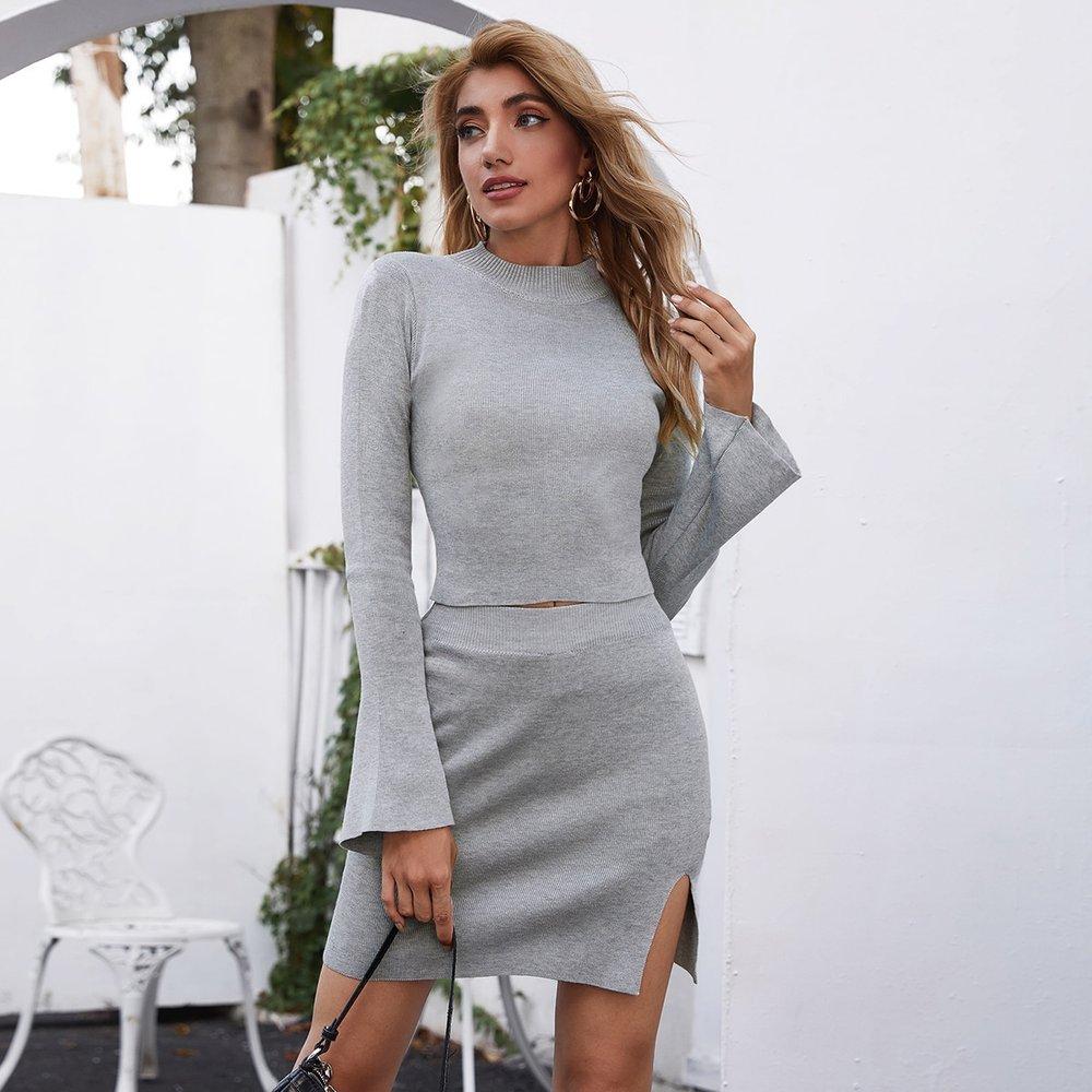 Ensemble pull et jupe fendue en tricot - SHEIN - Modalova