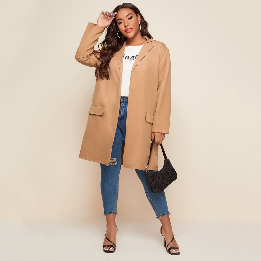 Blazer long avec poches - SHEIN - Modalova