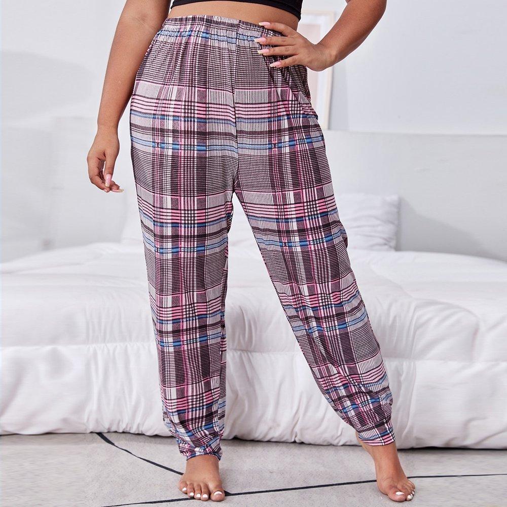 Pantalon à domicile taille haute à carreaux - SHEIN - Modalova