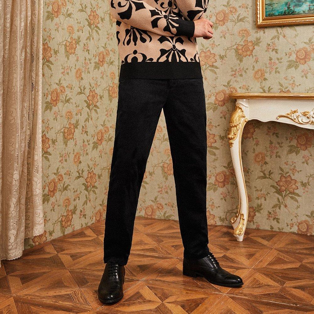 Pantalon en velours côtelé unicolore - SHEIN - Modalova