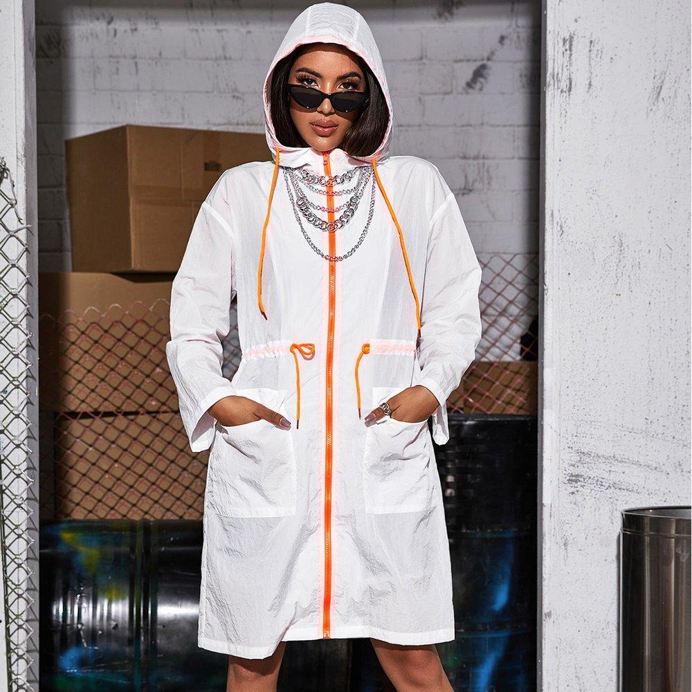Veste longue à capuche zippée avec cordon - SHEIN - Modalova