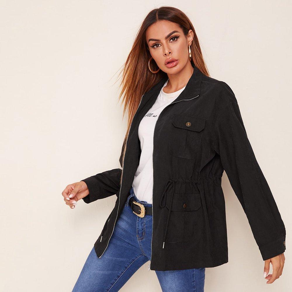 Manteau zippé avec cordon - SHEIN - Modalova