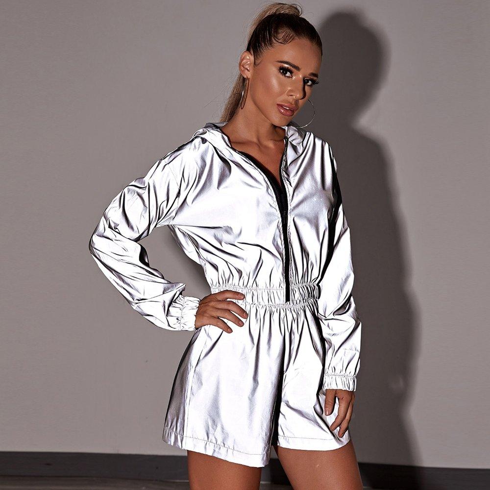 Ensemble veste à capuche coupe-vent réfléchissante et short - SHEIN - Modalova