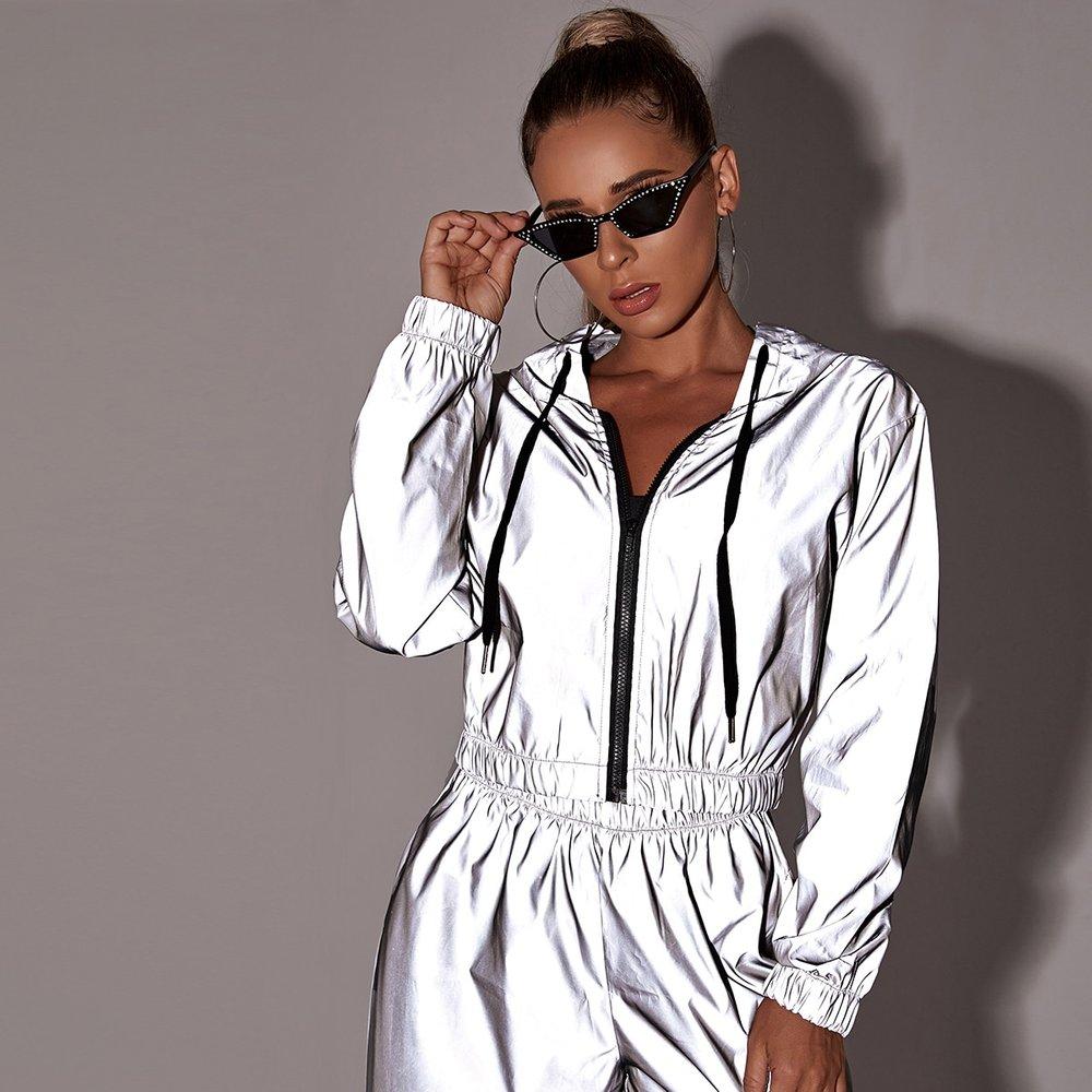 Veste à capuche coupe-vent réfléchissante avec zip - SHEIN - Modalova