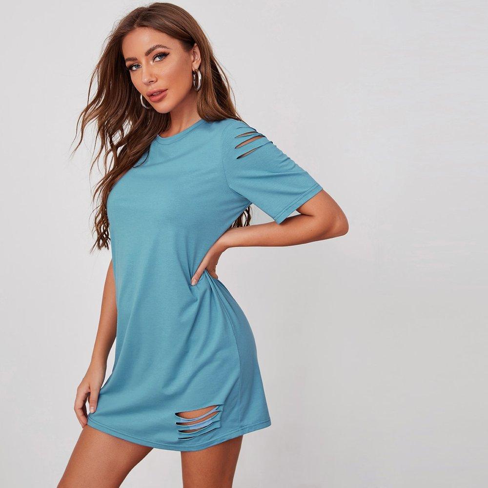 Robe t-shirt unicolore déchiré - SHEIN - Modalova
