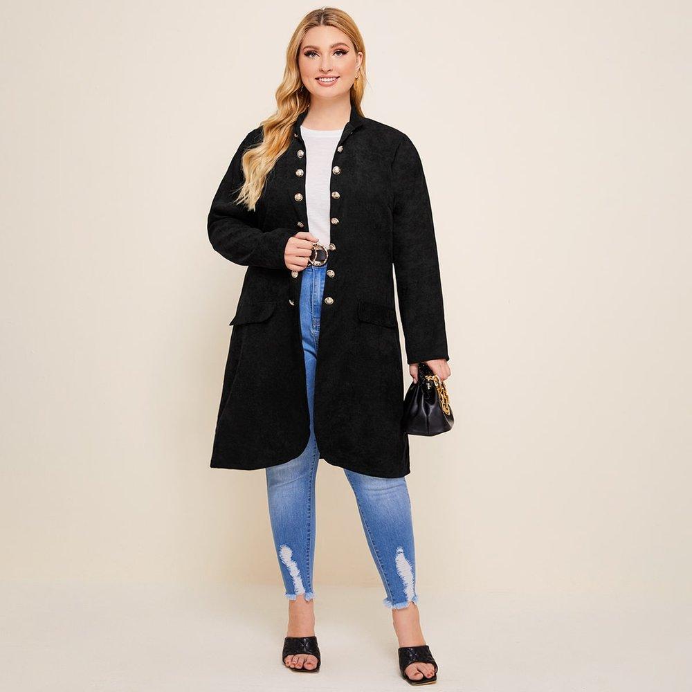 Manteau mi-long en velours côtelé avec boutons - SHEIN - Modalova