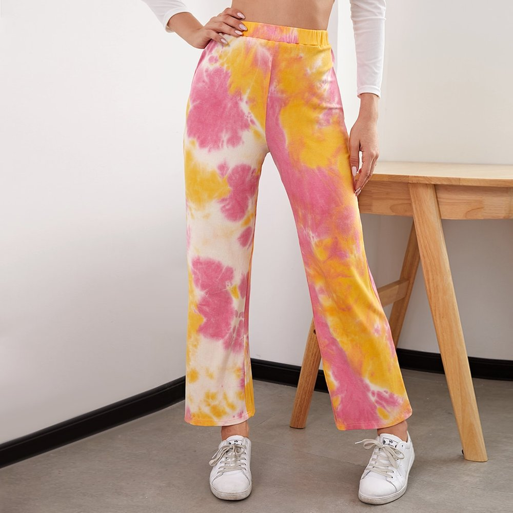 Pantalon taille haute tie dye - SHEIN - Modalova