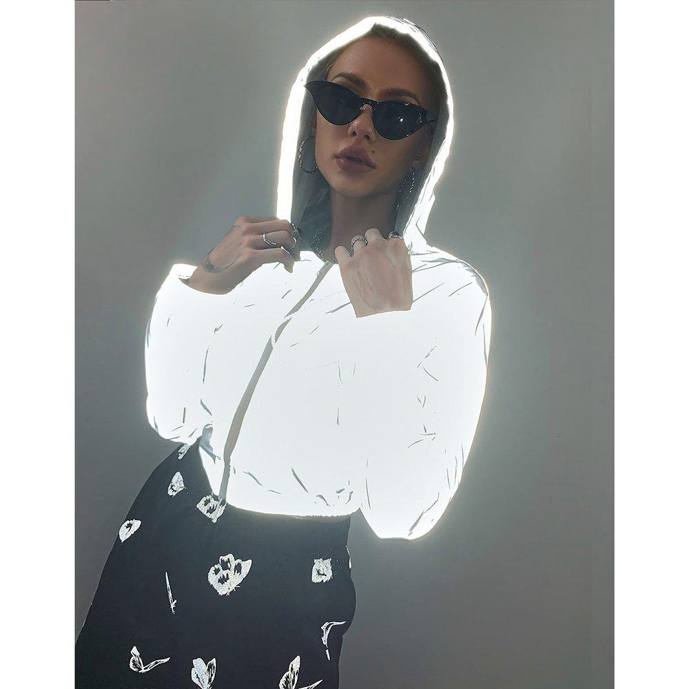 Veste à capuche zippée réfléchissante - SHEIN - Modalova