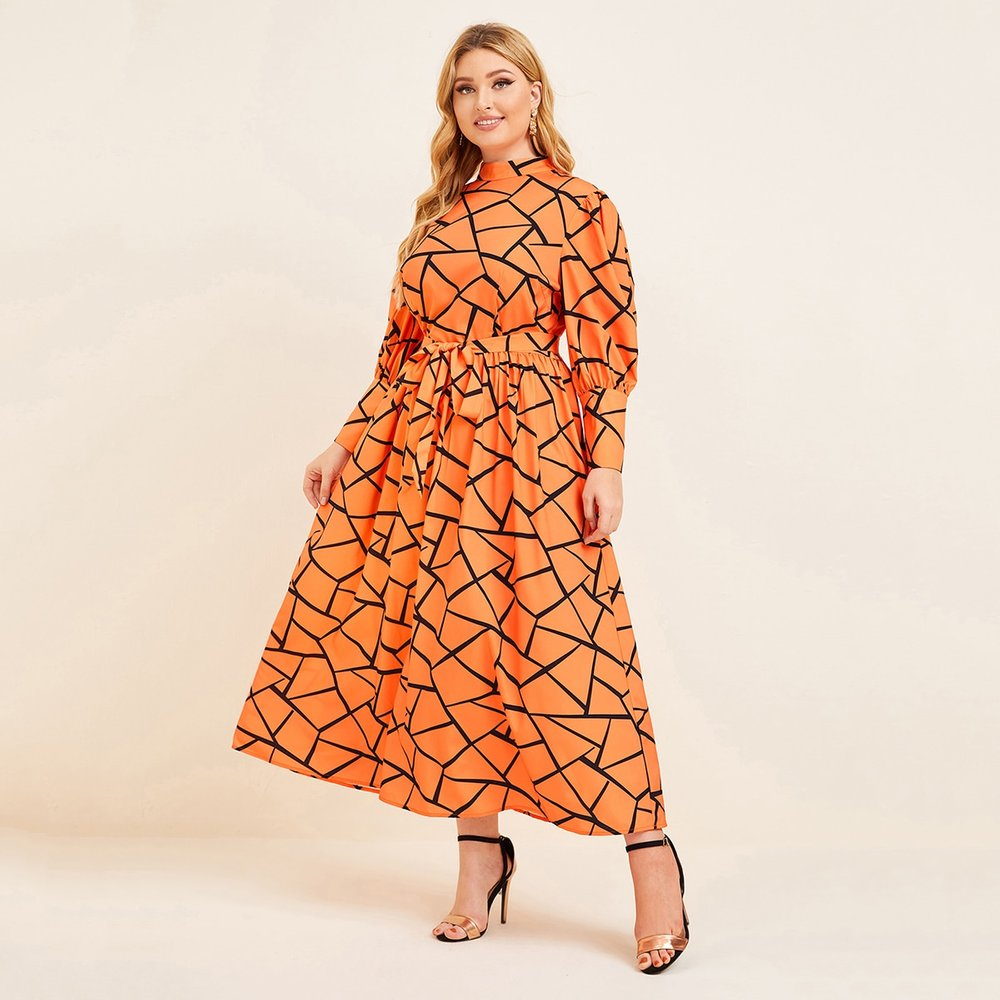 Robe à imprimé géométrique avec ceinture - SHEIN - Modalova