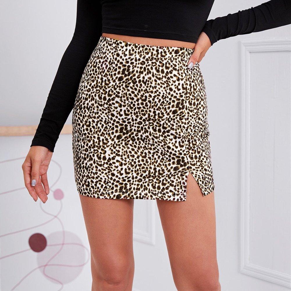 Jupe courte fendue léopard - SHEIN - Modalova