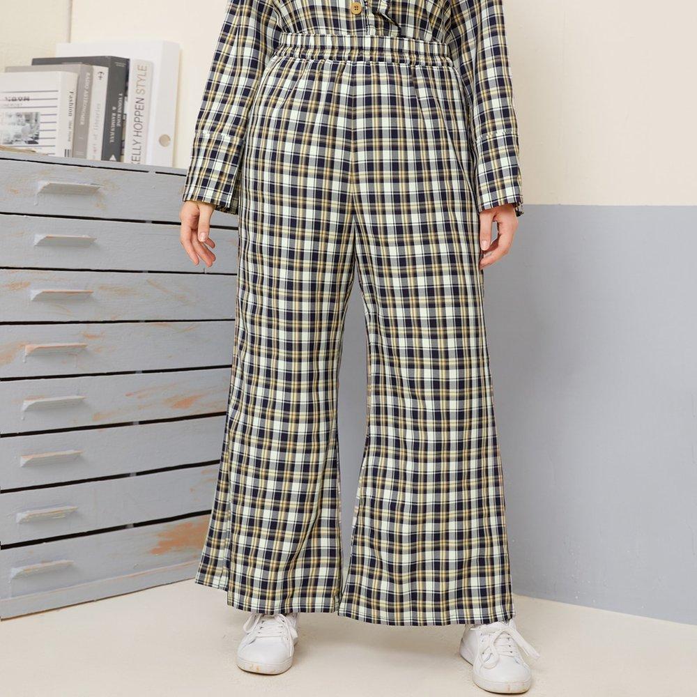 Pantalon ample taille haute à carreaux - SHEIN - Modalova