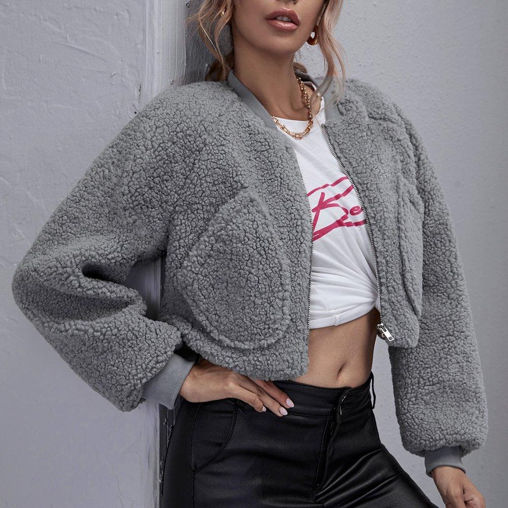 Veste en tissu duveteux zippée - SHEIN - Modalova