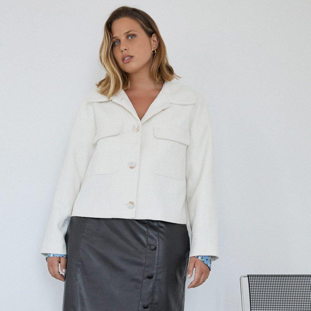 Veste en tweed avec poches à rabat - SHEIN - Modalova
