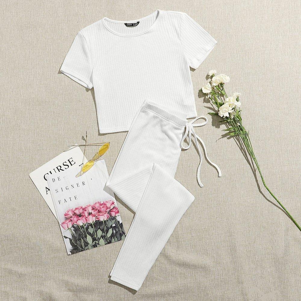 T-shirt côtelé & Legging avec nœud - SHEIN - Modalova