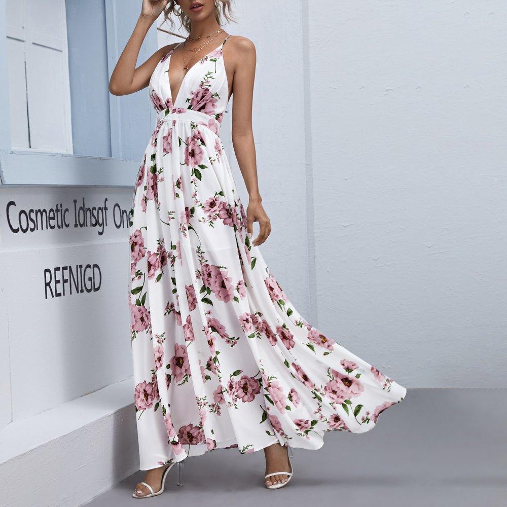 Robe longue fleurie dos-nu - SHEIN - Modalova