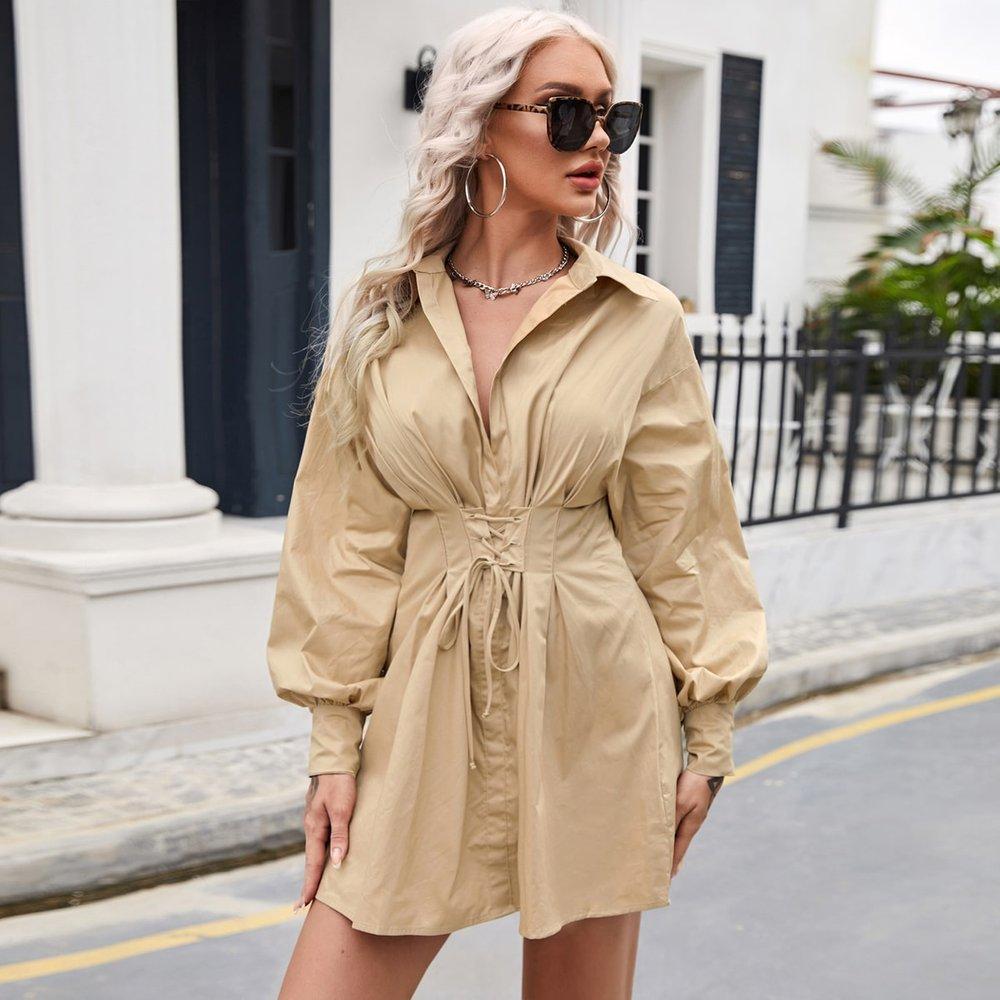 Robe chemise fendue à lacets - SHEIN - Modalova