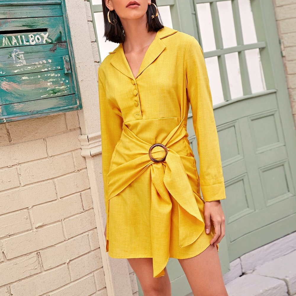 Robe chemise à nœud - SHEIN - Modalova