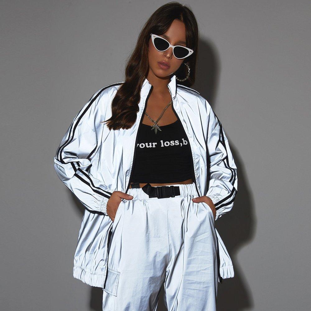Veste réfléchissante avec rayures et zip - SHEIN - Modalova
