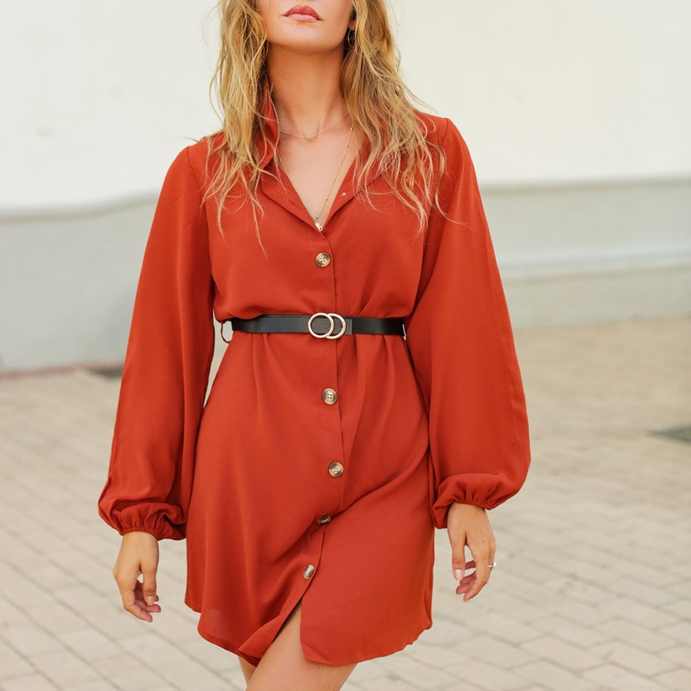 Robe chemise unicolore avec boutons(sans ceinture) - SHEIN - Modalova