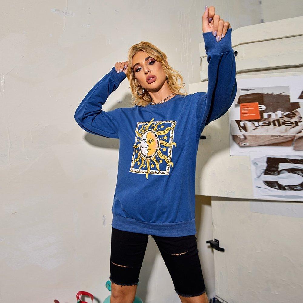 Sweat-shirt à imprimé étoile - SHEIN - Modalova