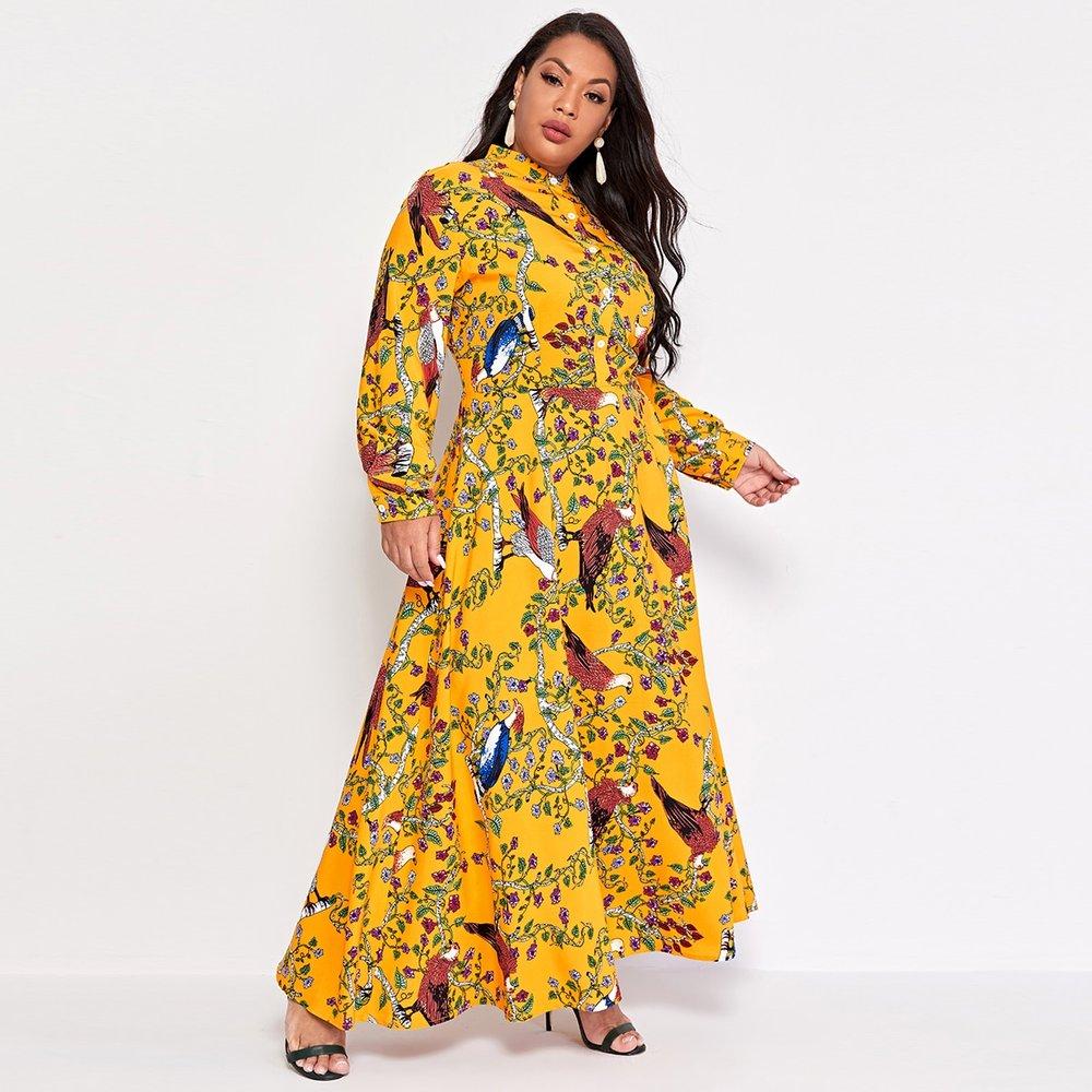 Robe chemise à imprimé oiseau et fleur - SHEIN - Modalova