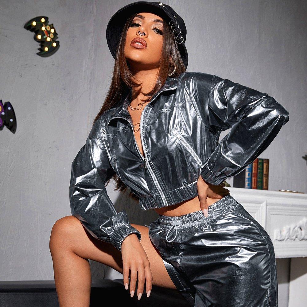 Veste courte métallique avec zip - SHEIN - Modalova