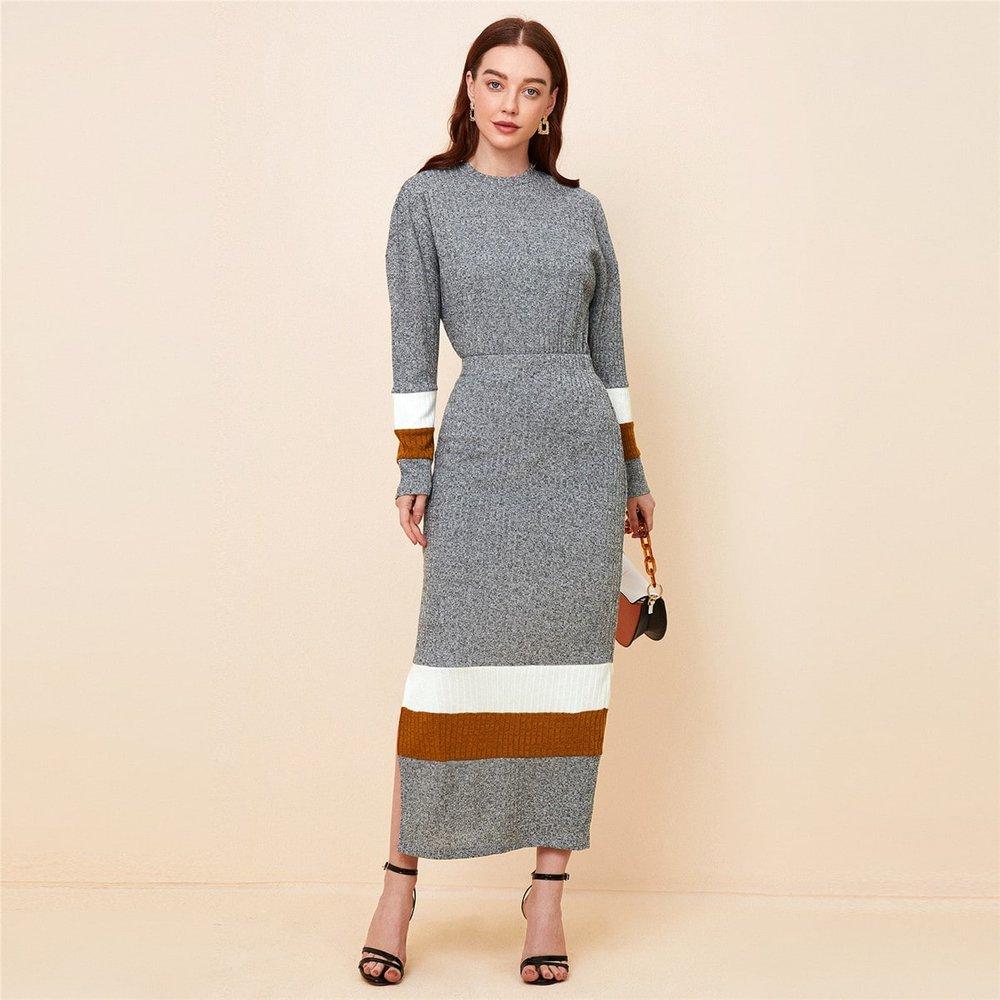 Top avec blocs de couleurs & Jupe fendue - SHEIN - Modalova