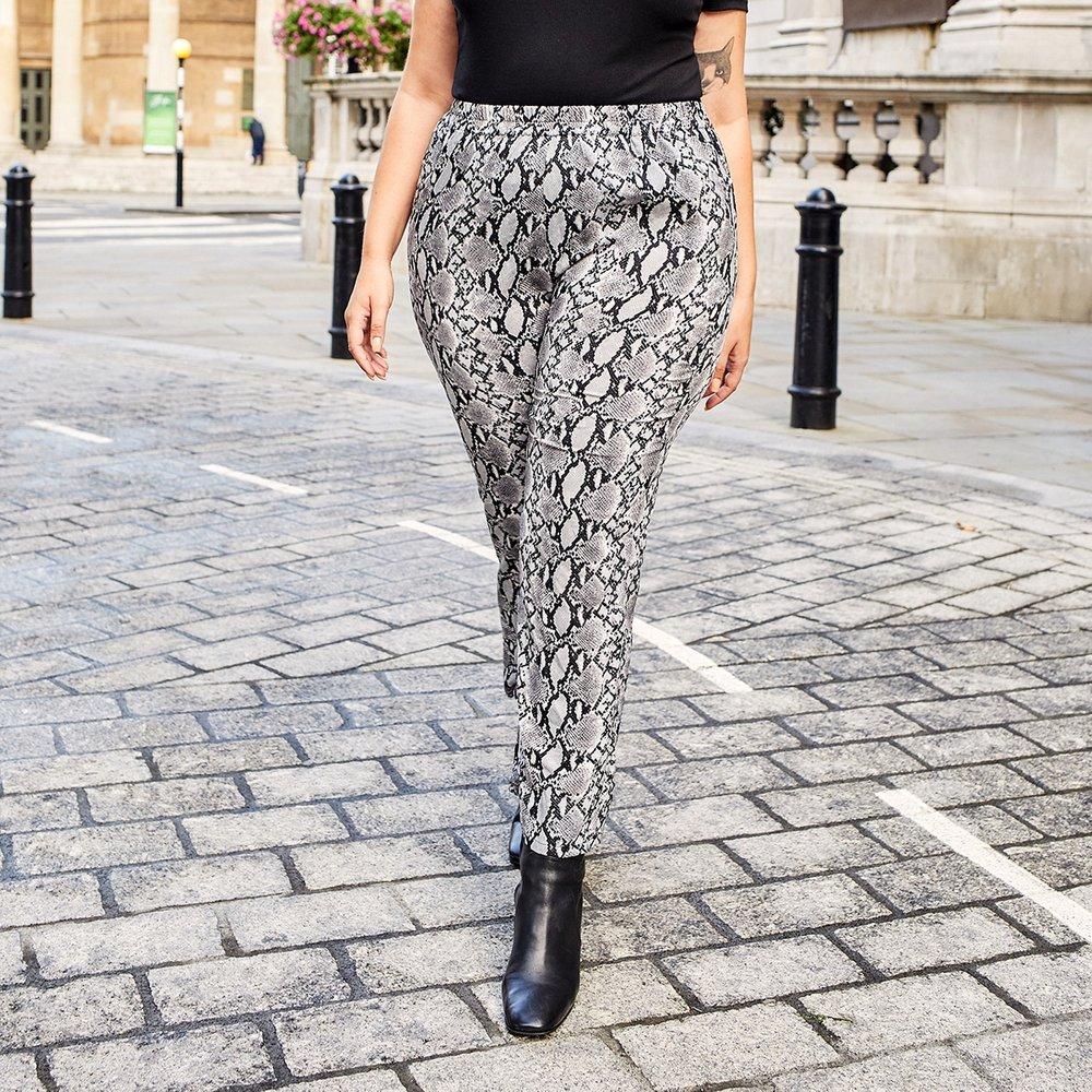 Pantalon taille haute à imprimé python - SHEIN - Modalova