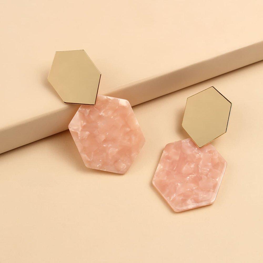 Boucles d'oreilles géométriques en acrylique - SHEIN - Modalova