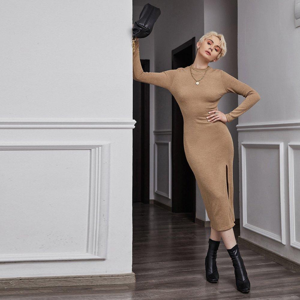 Robe côtelée fendue - SHEIN - Modalova