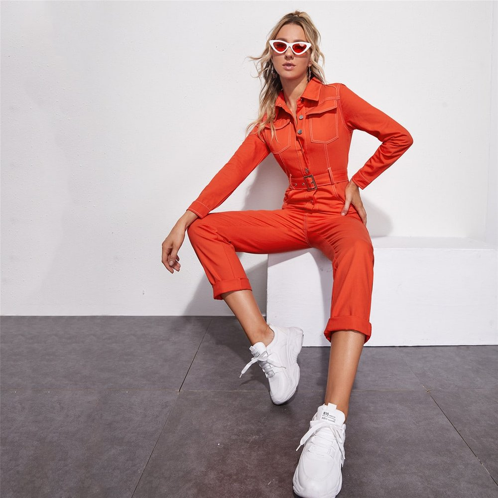 Combinaison en jean avec ceinture et boutons - SHEIN - Modalova