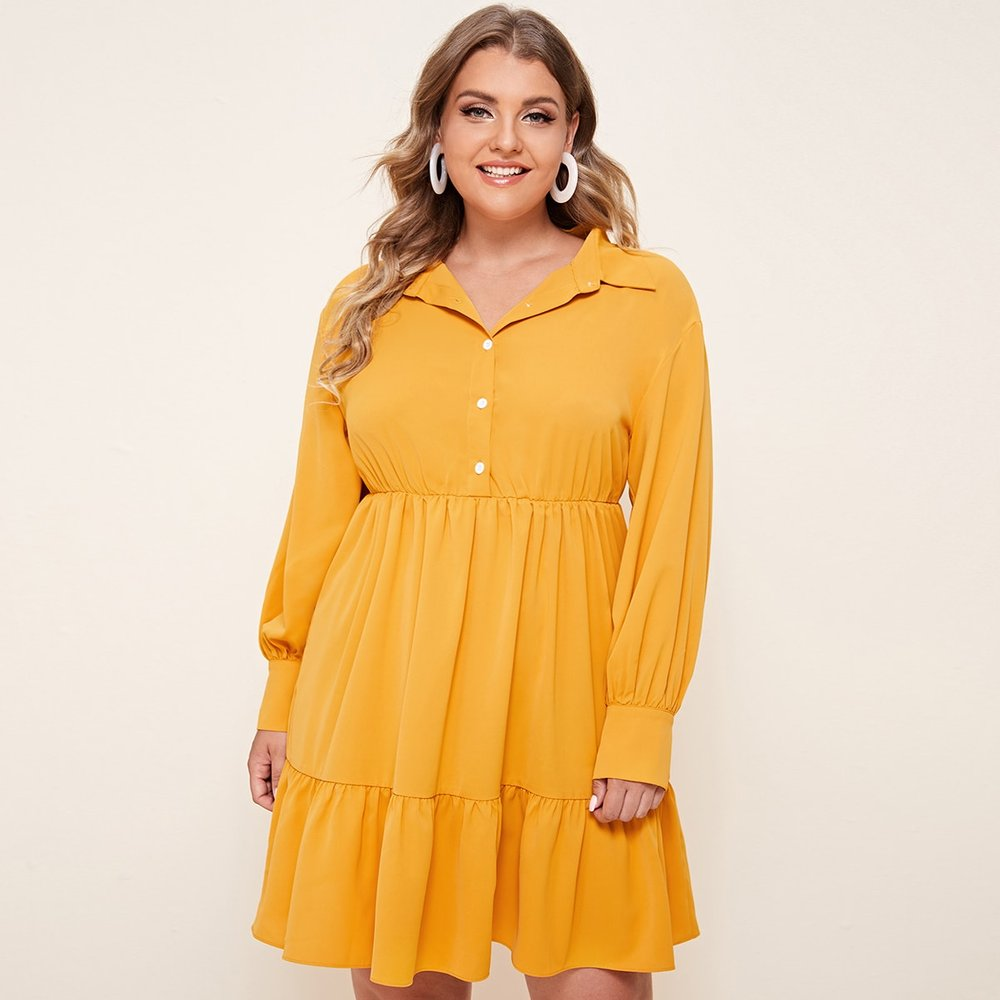 Robe chemise avec plis - SHEIN - Modalova