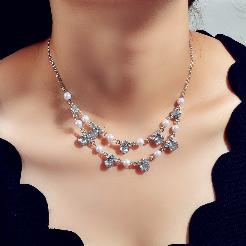 Collier avec fausse perle et strass - SHEIN - Modalova