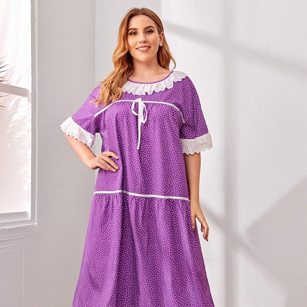 Robe de nuit à pois avec broderie anglaise - SHEIN - Modalova
