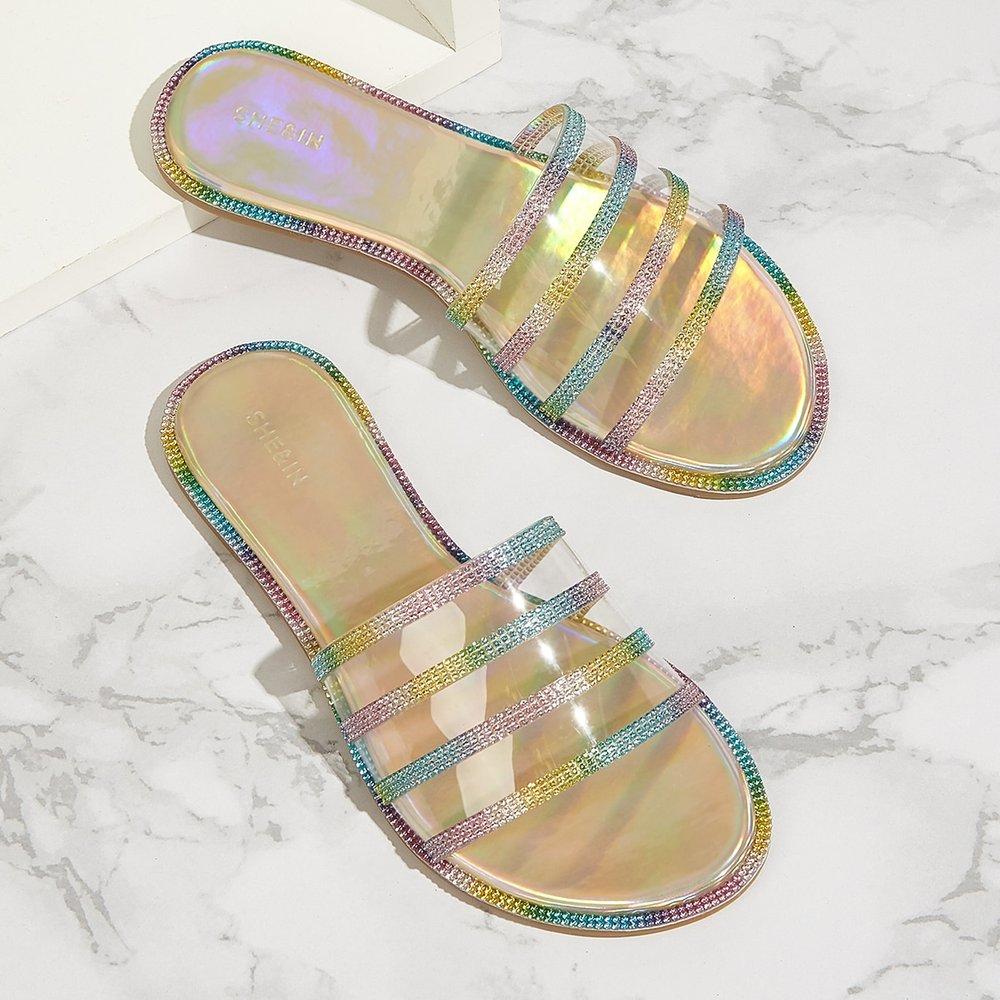 Mules plates brillantes transparentes - SHEIN - Modalova