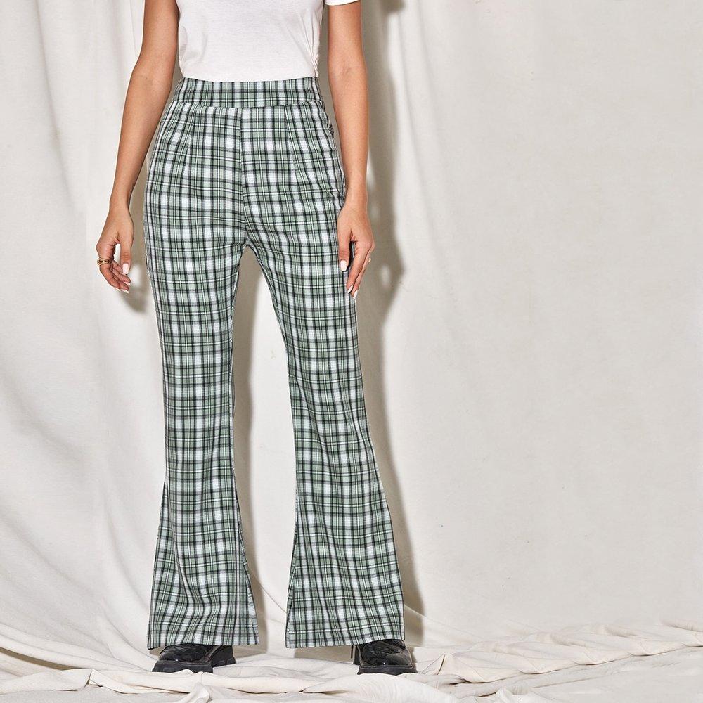 Pantalon bootcut taille haute à carreaux - SHEIN - Modalova