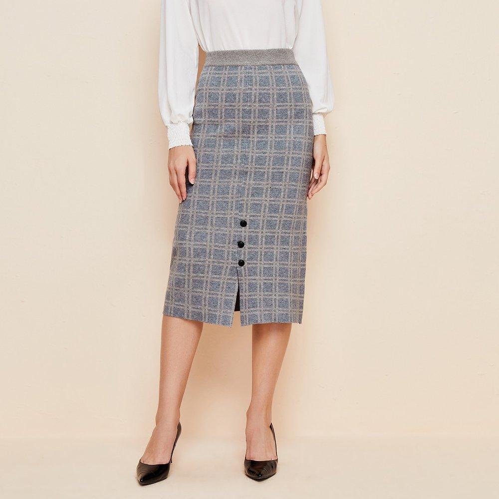 Jupe fendue en tricot à carreaux avec boutons - SHEIN - Modalova