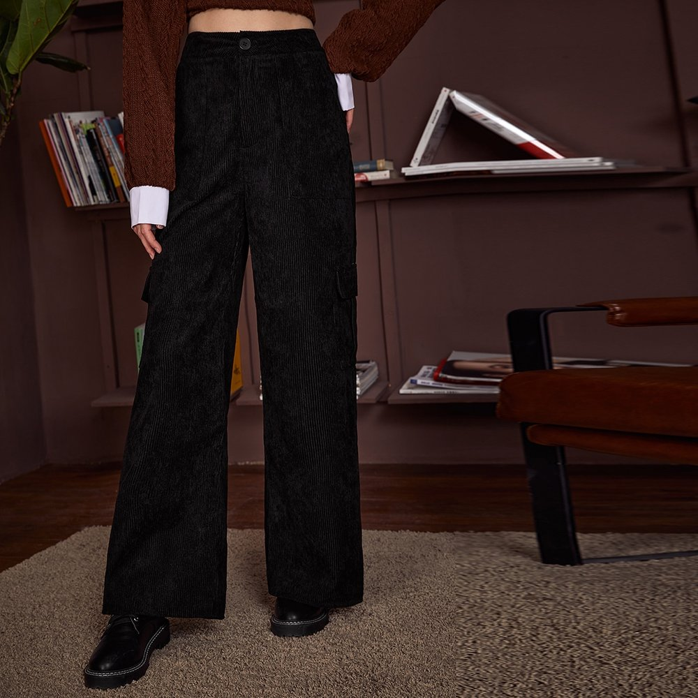 Pantalon ample en velours côtelé avec poches - SHEIN - Modalova