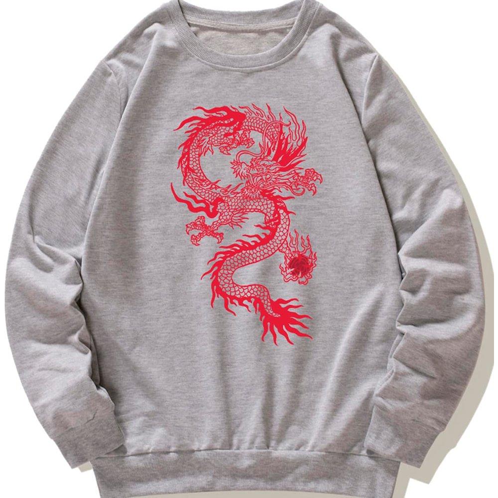 Sweat-shirt à imprimé dragon - SHEIN - Modalova