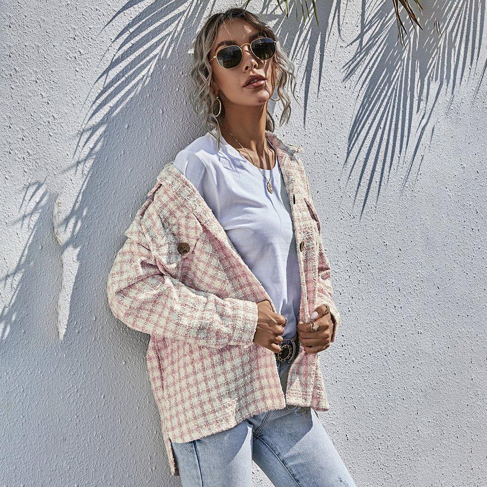 Surchemise à carreaux en tweed - SHEIN - Modalova