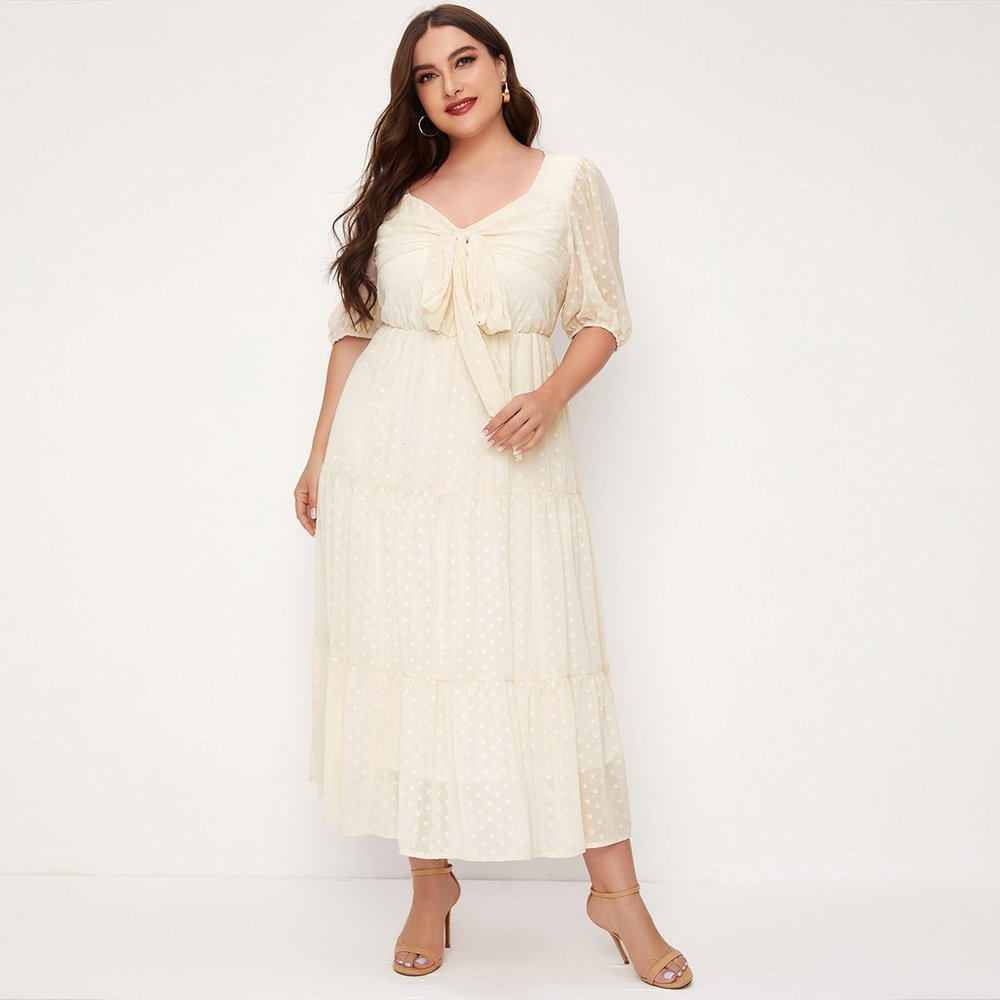 Robe en tulle à pois avec plis - SHEIN - Modalova