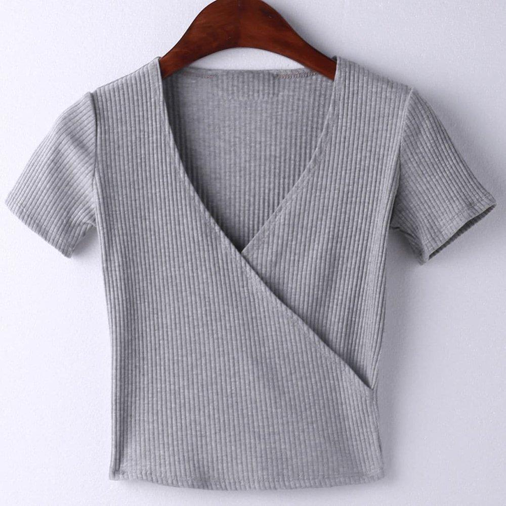 T-shirt col V manche courte - gris - SHEIN - Modalova