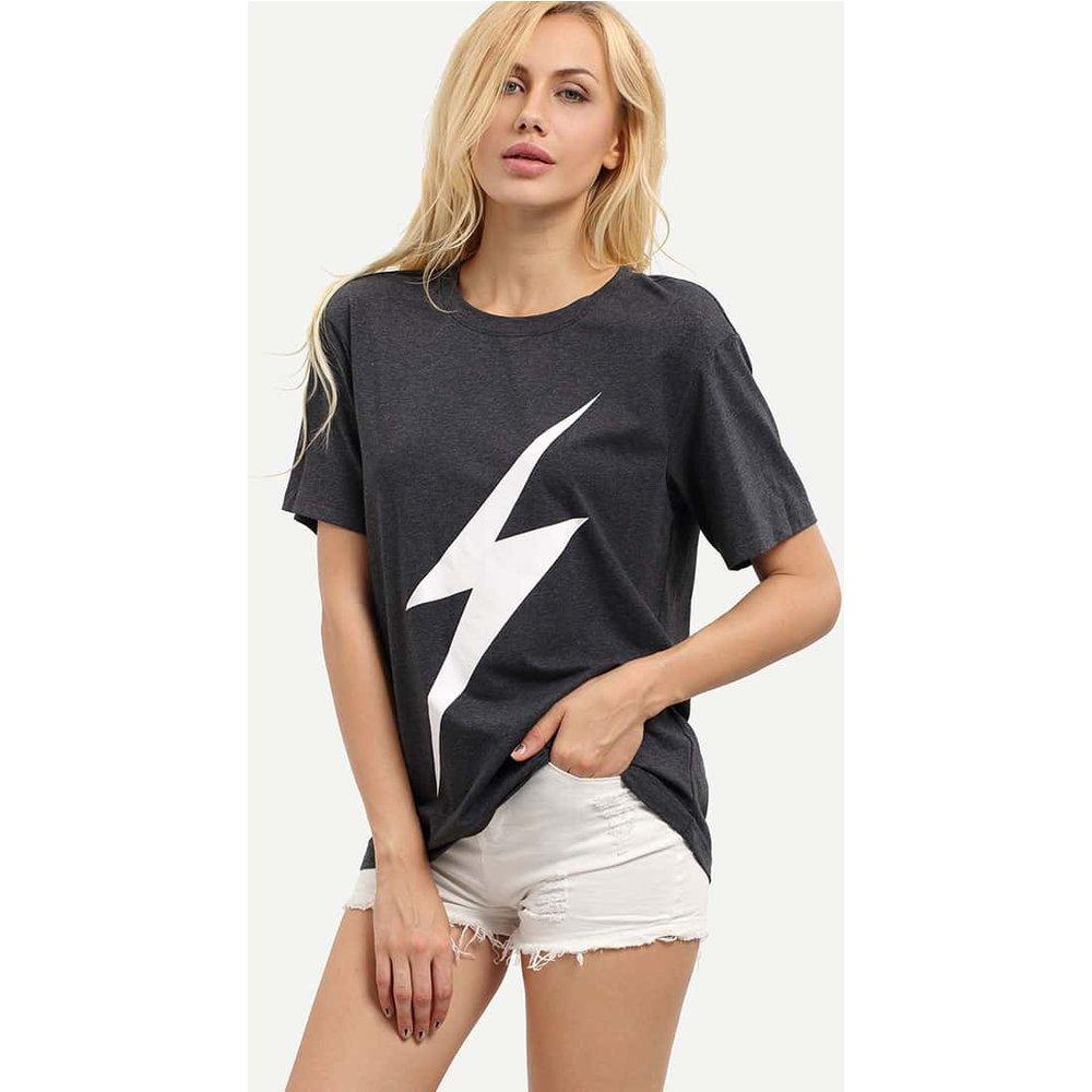 T-shirt imprimé manche courte - gris - SHEIN - Modalova