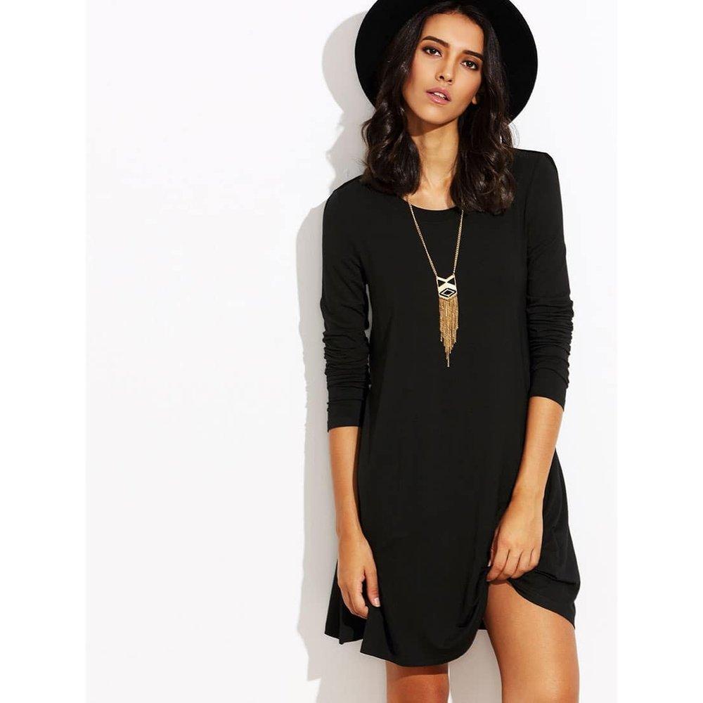 Robe t-shirt manche longue - noir - SHEIN - Modalova