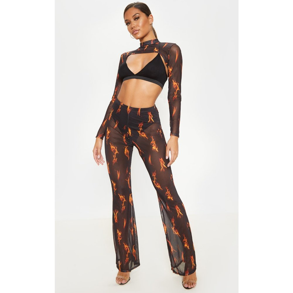 Pantalon en mesh à imprimé flammes - PrettyLittleThing - Modalova