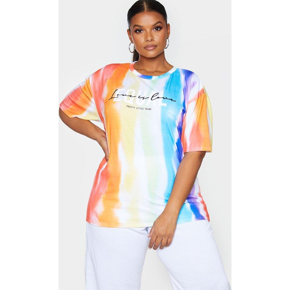 PLT Plus - T-shirt imprimé tie & dye à slogan Equal - PrettyLittleThing - Modalova
