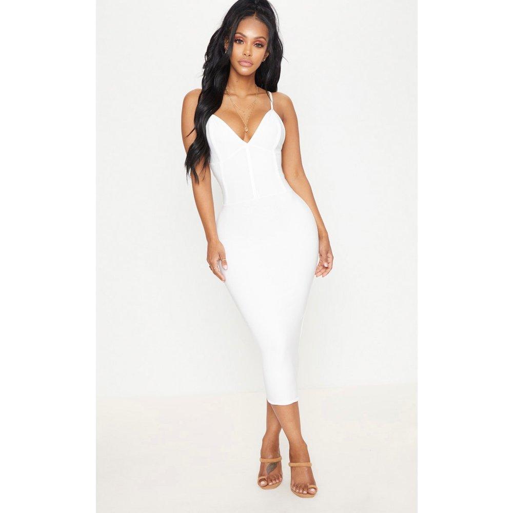 Shape - Robe mi-longue moulante à contraste blanche - PrettyLittleThing - Modalova