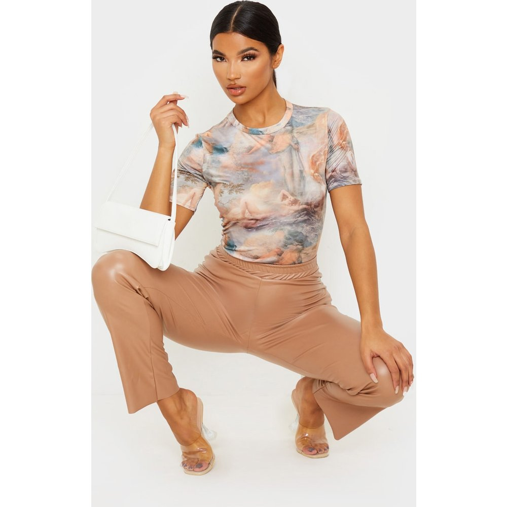T-shirt cintré moulant blanc à imprimé Renaissance - PrettyLittleThing - Modalova