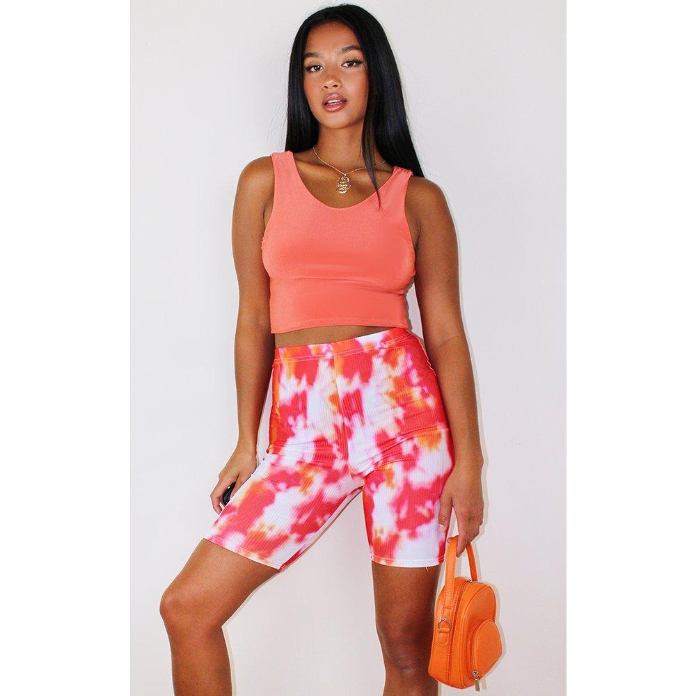 Petite - Short legging côtelé à imprimé tie & dye orange - PrettyLittleThing - Modalova